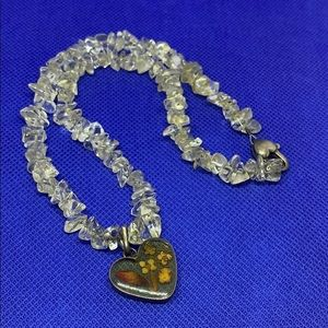 Glass Pressed Flower Crystal Necklace #109